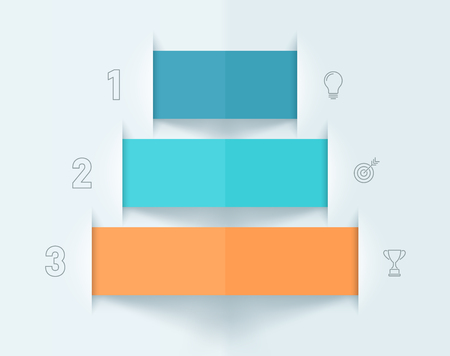Pyramid Ribbon Banners Number 1, 2, 3 Colorful Infographic