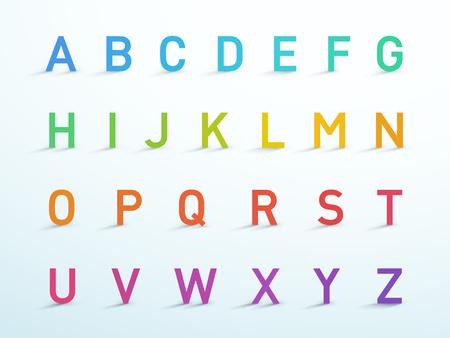 Alphabet Letters A to Z Colorful 3d Font Vector Set Çizim