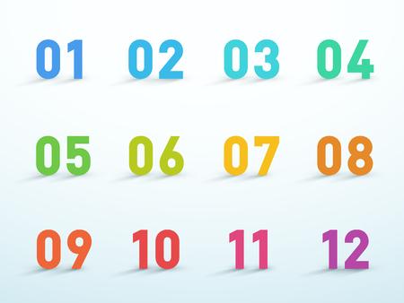 Liczba punktów Bullet 1 do 12 Kolorowy zestaw wektorów 3D Ilustracje wektorowe