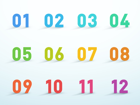 Number Bullet Points 1 to 12 Colorful 3d Vector Set