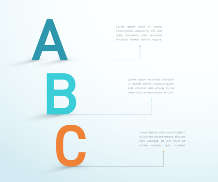 A B C Letters Three Step Business Vector Infographic Illustration