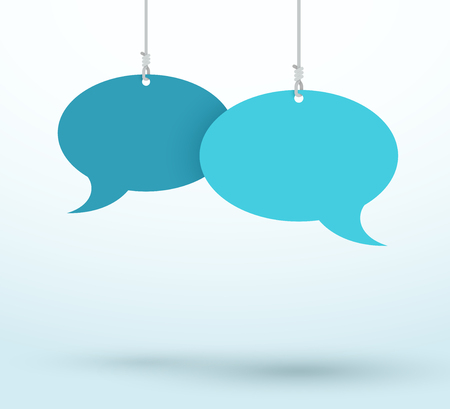 2 Speech Bubbles Hanging On Strings Blue Flat Vector Çizim