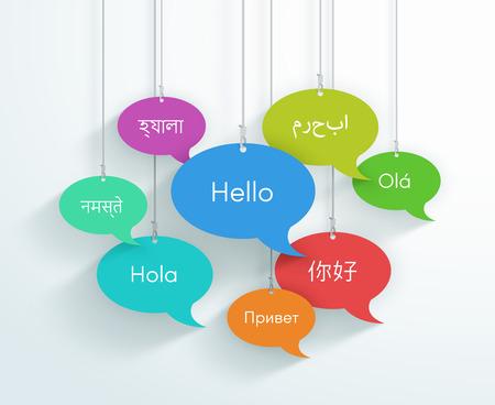 Burbujas de discurso colgando Hola en diferentes idiomas del mundo B Ilustración de vector