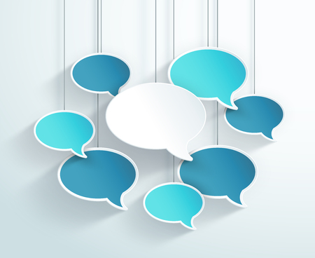 Speech Bubbles Hanging On Strings Colorful 3d Vector