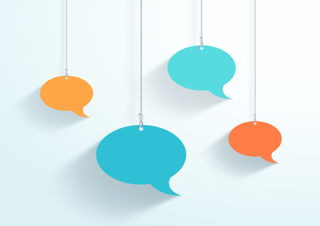 Speech Bubbles Hanging On Strings Flat Color Vector Illustration