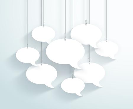 Burbujas de discurso colgando de cuerdas Vector plano blanco Ilustración de vector