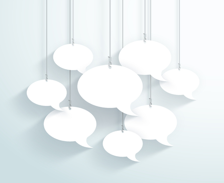 Speech Bubbles Hanging On Strings Flat White Vector