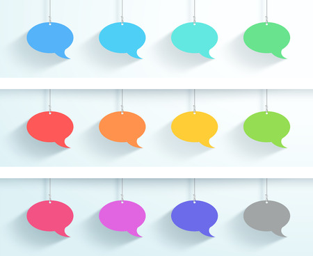Speech Bubbles Hanging On Strings Vector Flat 12 Set