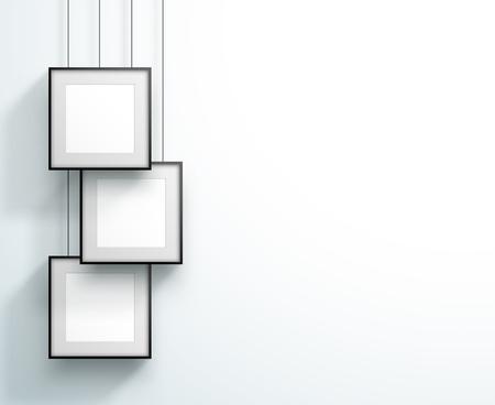 Fotolijst 3 set hangend overlappend vierkant ontwerp Vector Illustratie