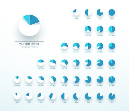 Pie Chart Vector Circle Diagram Infographic 3d Color Set Illustration