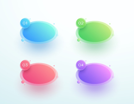 Abstract Circle Shape Numbered Text Boxes One To Four Ilustração