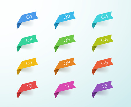 Number Bullet Point 1 to 12 Colorful Label Ribbons Set