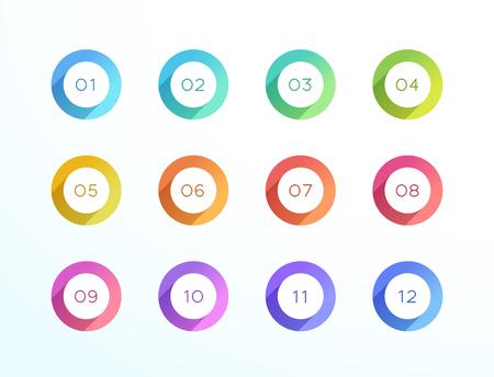 Nummer Opsommingsteken Punt Cirkel Platte Schaduw Pictogram Vector 12 Set Vector Illustratie