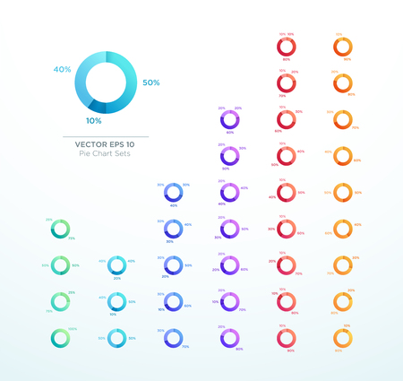 Pie Chart Vector Circle Diagram Infographic 3d Ring Set
