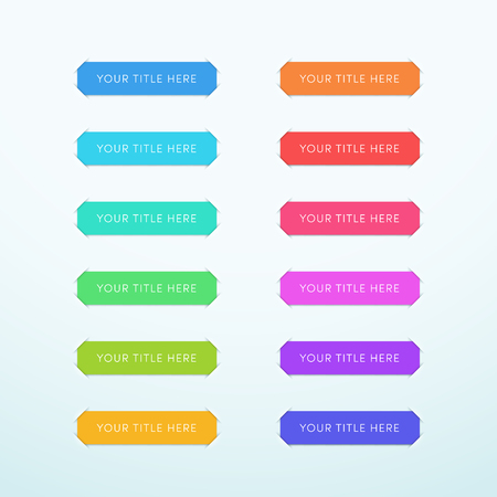Vector Title Banner Colorful Paper Cut Out Strips 12 Set