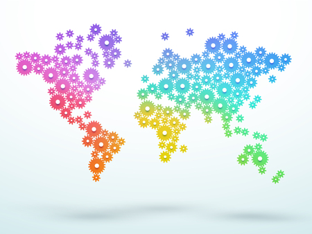 World Map Colorful Gradient Cogs Linking Vector
