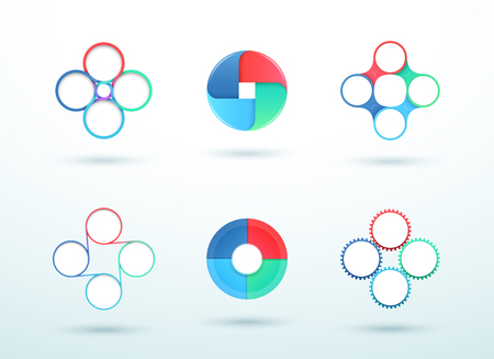 4 Point Connected Circle Cycle Diagram Vector Set Illustration