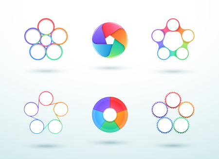 5 Point Connected Circle Cycle Diagram Vector Set