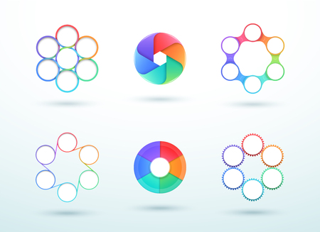 6 Point Connected Circle Cycle Diagram Vector Set Illustration