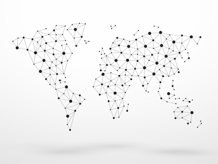 World Map Dots Connected Lines Vector Graphic Ilustração