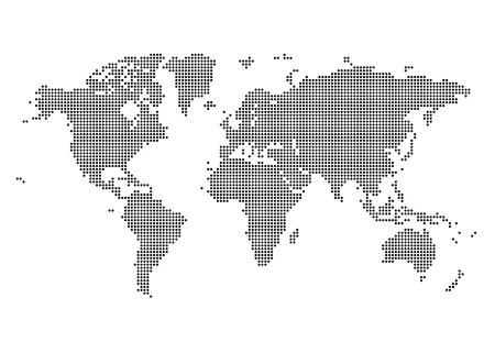 World Map Made Of Dots Flat Simple Black Vector Graphic