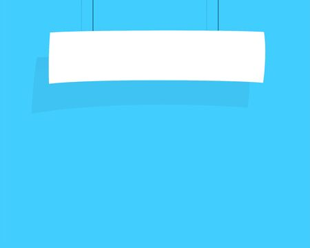 Sign Banner White Hanging From String Flat Vector
