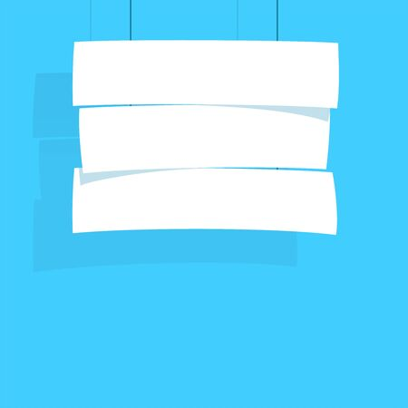 Sign Stack White Hanging From String Flat Vector Illustration