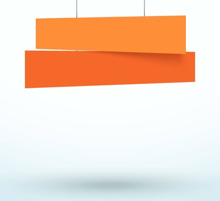 Hanging Title Ribbon 2 Line Overlapping Banner Ilustracja