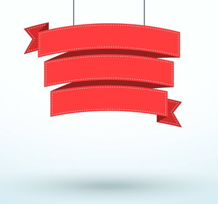 Hanging Title Ribbon 3 Line Flat Curved Banner