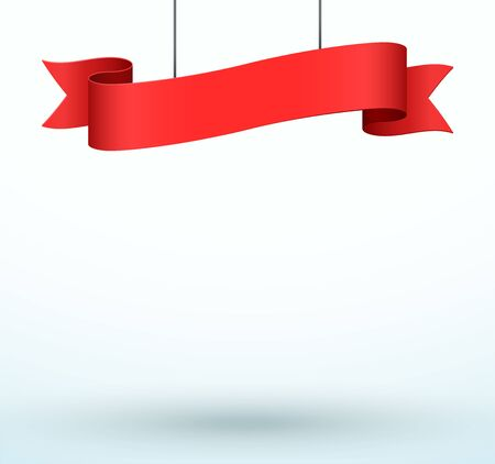 Hanging Title Ribbon 1 Line Red Realistic 3d Banner