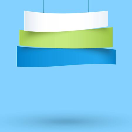 Hanging Title Ribbons 3 Line 3d Wavy Banners 向量圖像