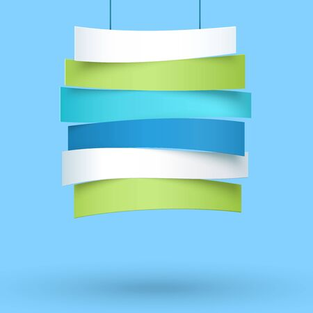 Hanging Title Ribbons 6 Line 3d Wavy Banners 向量圖像