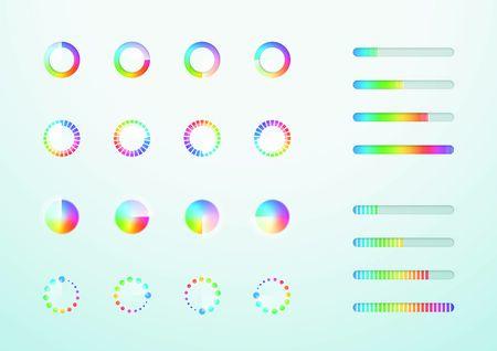 Loading Icon Progress Bar Symbol Set Colorful Vector Illustration