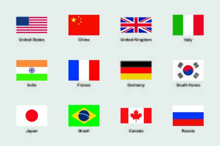 World Flags Official Proportions Flat Vector Set Illustration