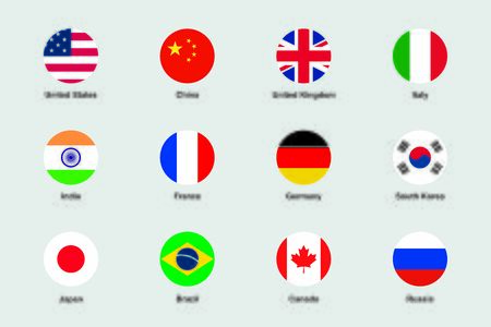 World Flags Round Flat Circle Icons Vector Set Illustration