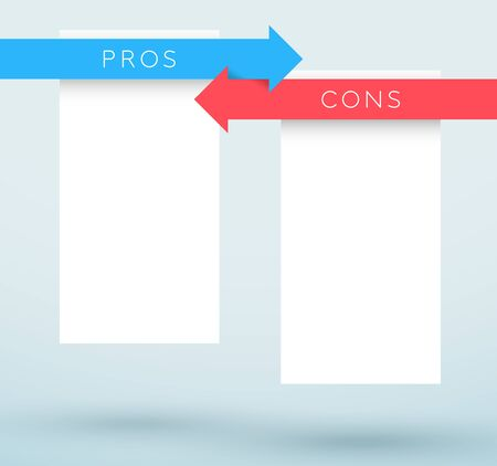 Arrows Red Blue Pros and Cons Comparison List Vector Illustration
