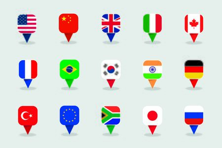 World Flags 3d Square Label Marker Shapes Vector Set Vectores