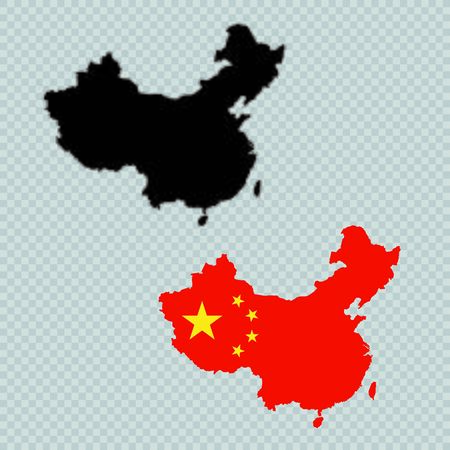 China Solid Black Detailed Map Vector With Chinese Flag Illusztráció