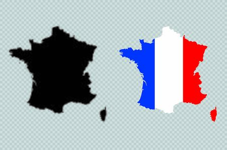 France Solid Black Detailed Map Vector With French Flag Illusztráció
