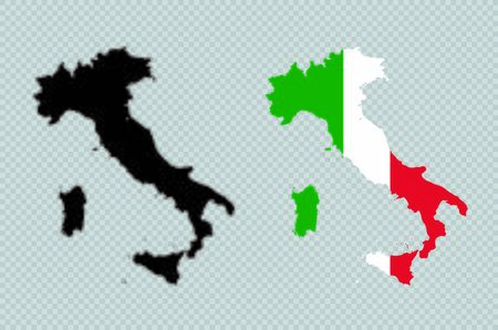 Italy Solid Black Detailed Map Vector With Italian Flag