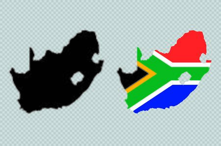 South Africa Black Detailed Map Vector With Flag