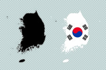 South Korea Black Detailed Map Vector With Korean Flag