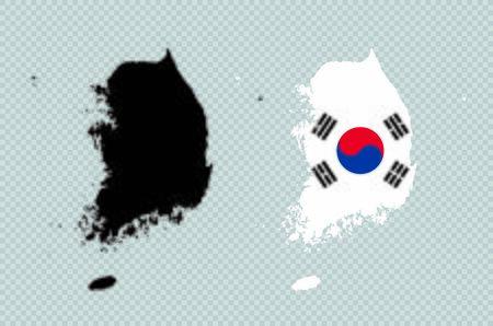 South Korea Black Detailed Map Vector With Korean Flag Векторная Иллюстрация