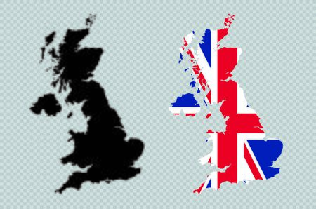 UK Solid Black Detailed Map Vector With British Flag 일러스트