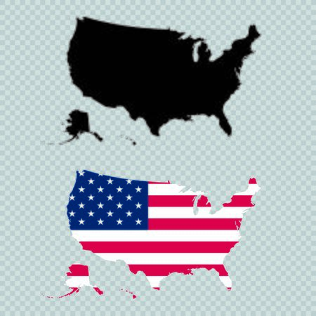 USA Solid Black Detailed Map Vector With American Flag Illusztráció