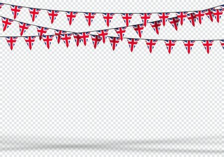 Bunting Hanging Banner UK British Flag Triangle Background
