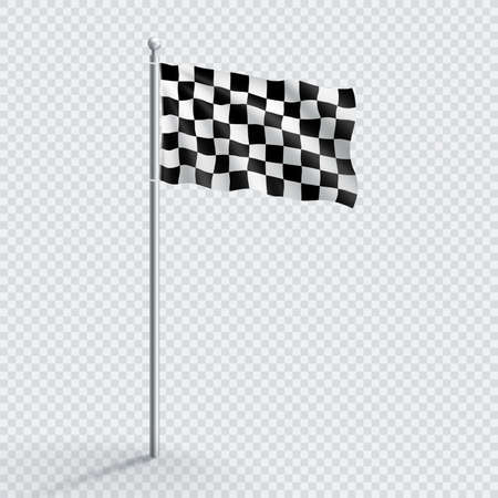 Black and White Checkered Racing Finish Flag Flagpole