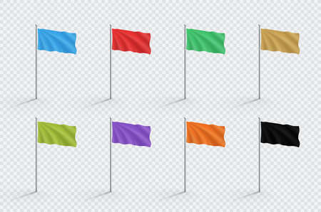 Blank Color Flag Templates Realistic Waving On 3d Flagpole