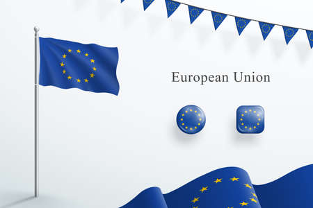 EU Flag 3d Elements Waving Flagpole Bunting Buttons