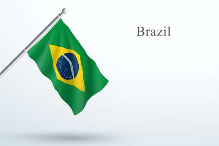 Brazil Flag Waving Hanging Down 3d Flagpole Vector